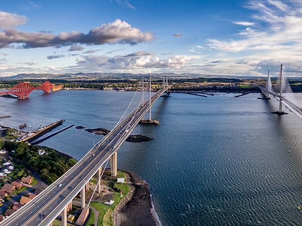 The,New,Queensferry,Crossing,Bridge,(on,The,Right),Over,The